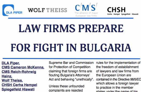 PRoPR was engaged by the five leading foreign law firms in Bulgaria (DLA Piper, CMS Cameron McKenna, CMS Reich-Rohrwig Hainz, Wolf Theiss, CHSH Cerha Hempel Spiegelfeld Hlawati) in connection with the attack against them from all big Bulgarian law firms. They filed a case in the Competition Protection Commission alleging that their foreign colleagues infringe the Bulgarian legislation. The foreign lawyers in their turn defended the position that the Bulgarian legislation is in conflict with the European law.